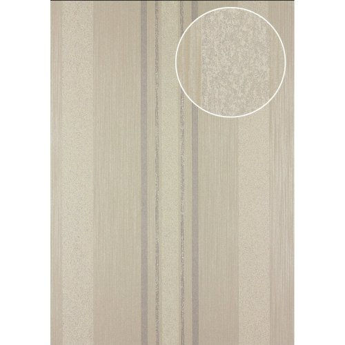 Atlas 24C-5059-5 Stripes wallpaper metallic highlights beige grey 7.035 sqm