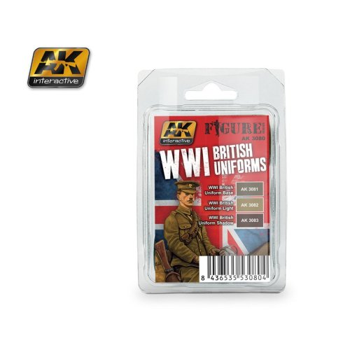 AK Interactive - WW1 British Uniforms - 3 bottle acrylic paint set