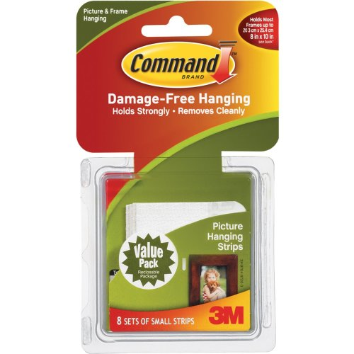 Command Small Picture Hanging Strips-White 8 Sets/Pkg