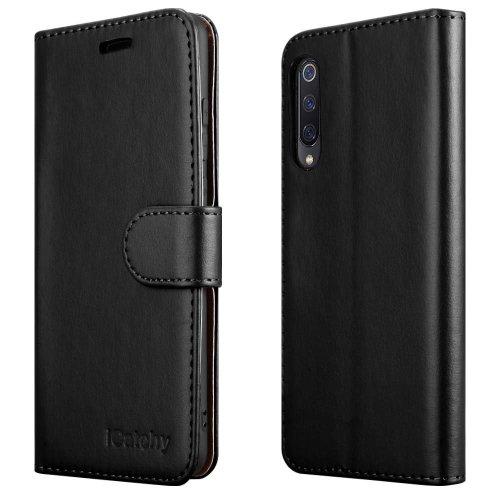 For Xiaomi Mi 9 Wallet Book Card Case Cover (Black)