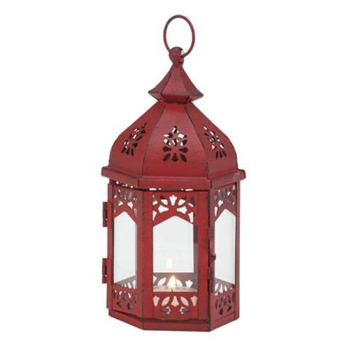 Biedermann & Sons H1592RD Moroccan Tealight Lantern, Antique Red
