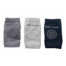 3 Pairs Multicolor Cotton Baby Crawling Knee Pads Dark Gray/Light Gray/Dark Blue