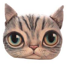 Realistic Personality Pillows Plush Toys 3 D Cartoon Cat Head Meow Cat Gray