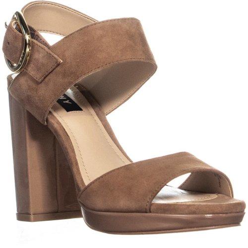 DKNY Bell Sling Back Block Heel Sandals, Walnut Suede, 3.5 UK
