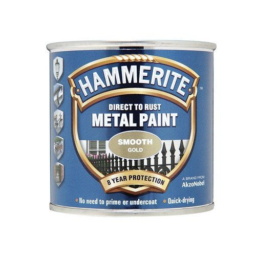 Hammerite SFGO250 Direct to Rust Smooth Finish Metal Paint Gold 250ml