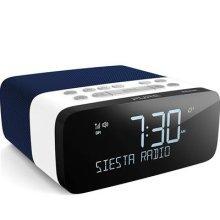 Pure Siesta Rise S Alarm Clock Radio with Bluetooth - Digital DAB+ / FM Radio - USB Phone Charging - CrystalVue Auto-dimming Display - Navy