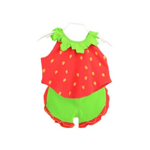Sleeveless Strawberry Baby Suit Kids Cloth,90cm