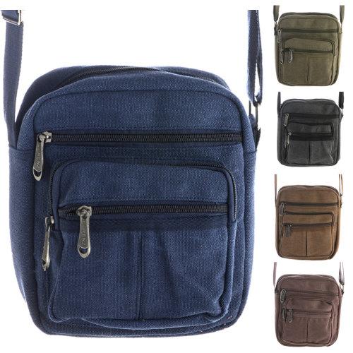 Unisex Multi Zip Canvas Travel / Work Bag with Adjustable Strap