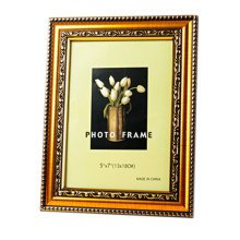 Set Of 2 Decorative Polyresin 4-by-6-Inch Picture Photo Frame, Elegant Gold
