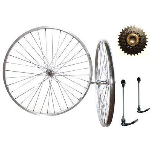 "Pair 26"" MTN BIKE SILVER ALLOY Quick Release(Q/R) WHEELS INC 5Spd COG & SKEWERS"