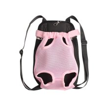 Portable Chest Carrier Backpack Bag for Pets Dogs Pink(Bust 50cm, Up to 15LB)