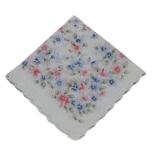 3 Pcs Retro Floral Print Handkerchiefs Ladies Cotton Pocket Handkerchief, #22