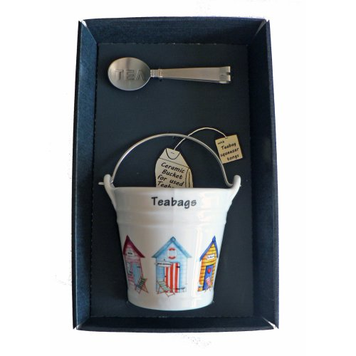 Beach Hut Teabag Tidy Bucket with Teabag Squeezer Tongs - Gift Boxed