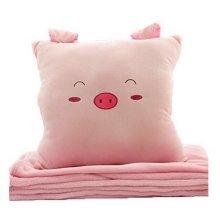 Cartoon Easily Bear Flannel Air Conditioning Blanket Warm Hand Pillow--Pig P