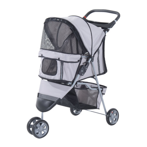 PawHut Cat Puppy 3 Wheels Pet Stroller Dog Jogging Pushchair Carrier Gray NEW