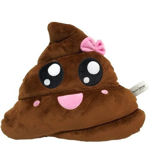Desire Deluxe Poo Emojis Cushions Soft Emoticon Stuffed Plush Toy for Boys Girls Poop with Bow Emojis Pillow for Kids