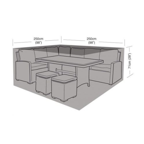 Small Black Square Casual Dining Set Cover 250Cm Furniture Protection