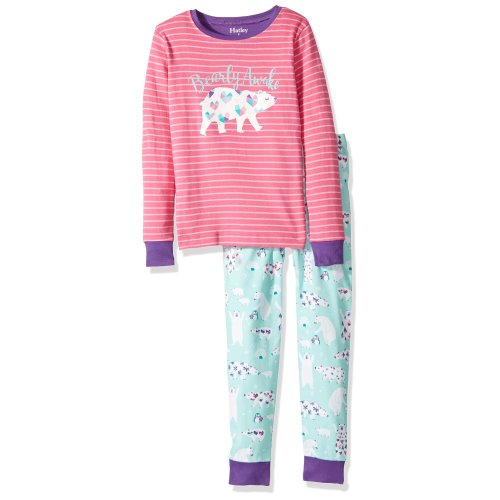 Hatley Girl's 100% Organic Cotton Long Sleeve Appliqué Pyjama Sets, Pink (Arctic Party), 10 Years