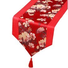 Chinese Classical Table Runner Traditional Satin Table-cloth-Red Peony