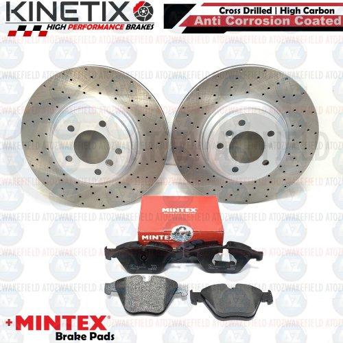 FOR BMW 335d E92 FRONT DRILLED KINETIX PERFORMANCE BRAKE DISCS MINTEX PADS 348mm