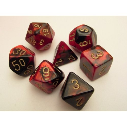 Chessex Gemini Polydice Set - Black-Red/gold