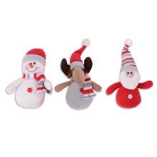 Set of Three Hanging Plush Christmas Character Tree Decorations
