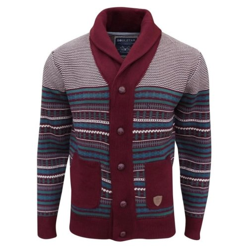 Soul Star Men's Stifler Nordic Striped Knitted Cardigan