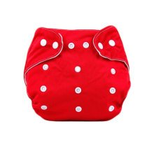 Baby One Size Leak-free Diaper Cover With Snap Closure (3-13KG,Red)