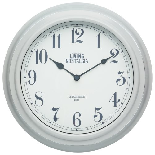 KitchenCraft Living Nostalgia Analogue Wall Clock, Grey, 25.5 cm (10 inch)