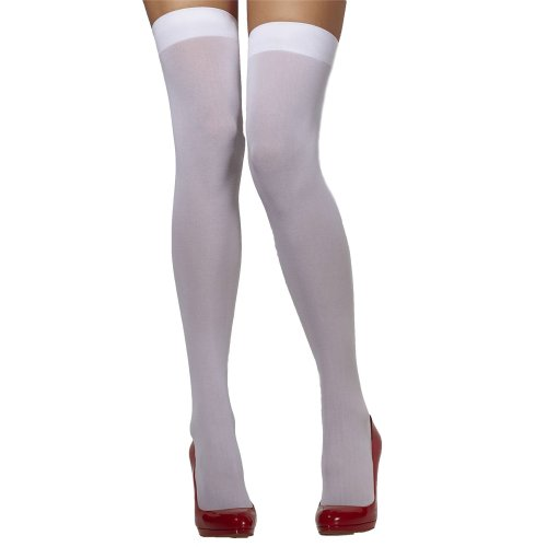 White Opaque Hold Ups -  white opaque fancy dress stockings hold ladies over knee ups holdups womens new