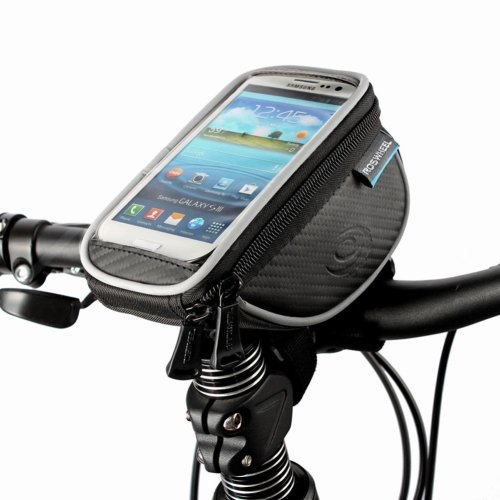 Roswheel Bicycle Frame Pannier Bag and Front Tube Cell Phone Bag with Mobile Phone Pouch for 5in 5.5in Cellphone Bicycle Accessories