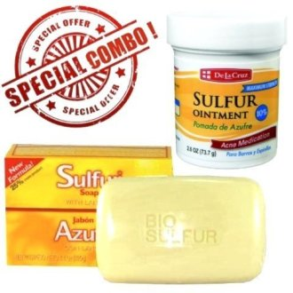 Sulfur Ointment Cream 2.6Oz [1]  Sulfur Soap With Lanolin 4.4Oz [1] Combo!