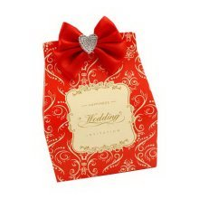 Set of 10 Wedding Festival Candy Paper Bag/Chocolate Box/Gift Carrier Red