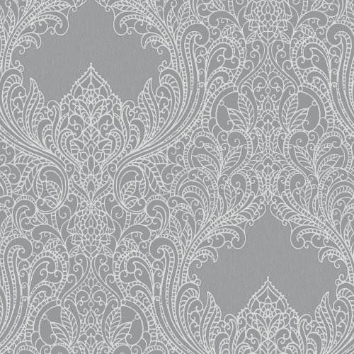 Rasch Damask Pattern Wallpaper Floral Leaf Motif Embossed Metallic Glitter 308501