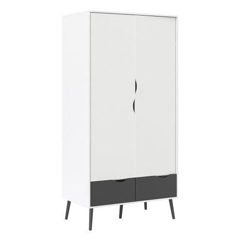 Modern Wardrobe in Black and White 2 doors 2 drawers