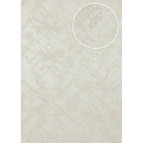 Atlas SIG-580-1 Graphic wallpaper shimmering grey-white 5.33 sqm