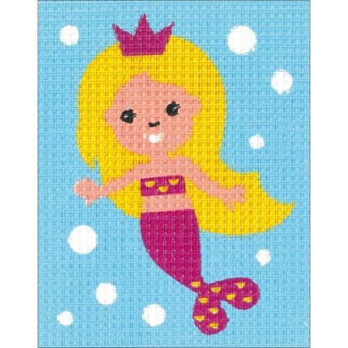 "Vervaco/Kits 4 Kids Embroidery Kit 6.5""X5""-Mermaid"