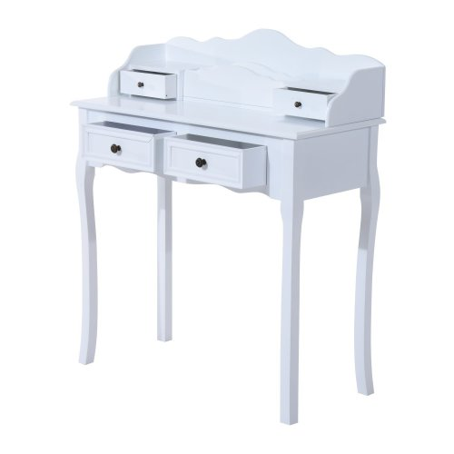Homcom Dressing Table Desk Vanity Bedroom Furniture W/ 4 Drawers White