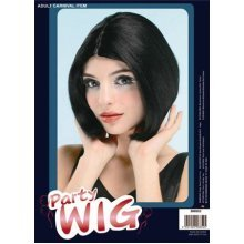 Centre Parting. Black/skin Top -  wig fancy dress parting centre black top posh spice short bob pop star accessory blackskin