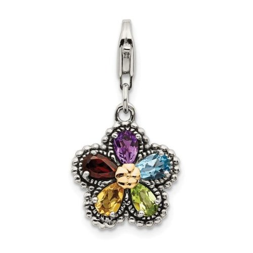 Shey Couture QTC464 14K Gold Sterling Silver Antiqued Multi Gemstone Flower with Lobster Clasp Charm