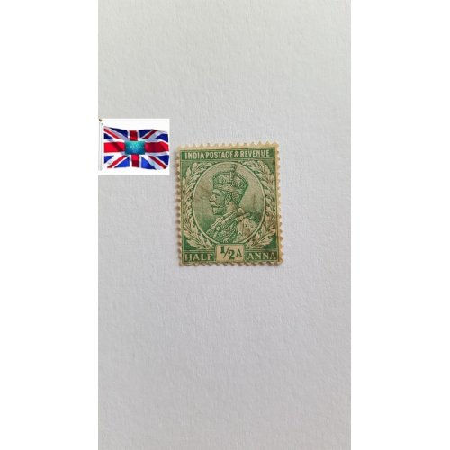 """India 1912 """" King George V - Definitives (1911-26) with Indian emperor's crown (wmk Star) ½ Indian anna"""