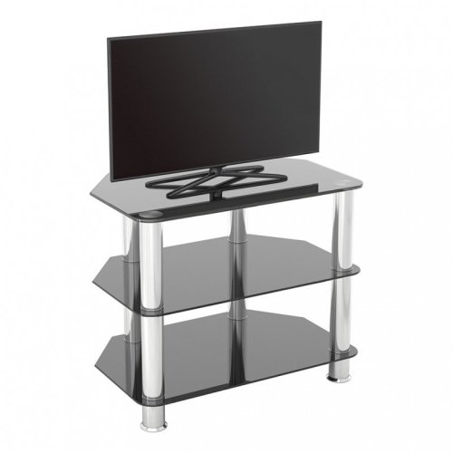 """King Glass TV Stand 60cm, Chrome Legs, Black Glass, for TVs up to 32"""""""