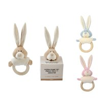 Wooly Organic Soft Toy Rattle with Wooden Teether Bunny