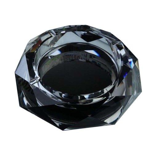 [Black] Rhombus Shape Crystal Cigarette Ashtray Ash Tray Tabletop Decoration