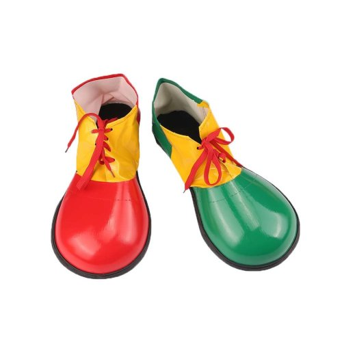 Artificial Leather Clown Shoes Pretend Games Shoes For Adults Party Clown Costume Supplies, Green and Red