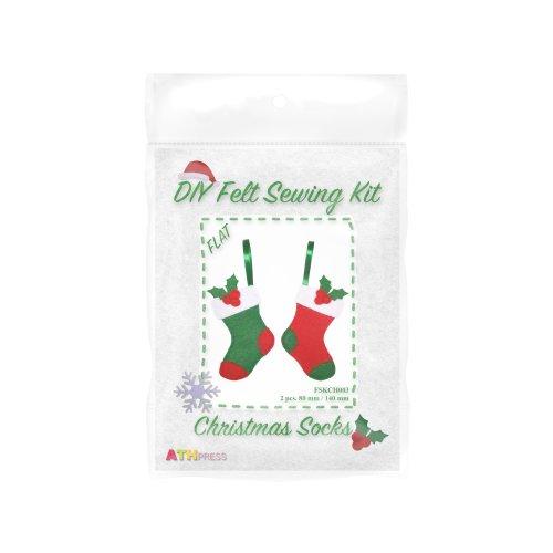 ATH Press - Christmas DIY Felt Sewing Kit Christmas Socks - flat
