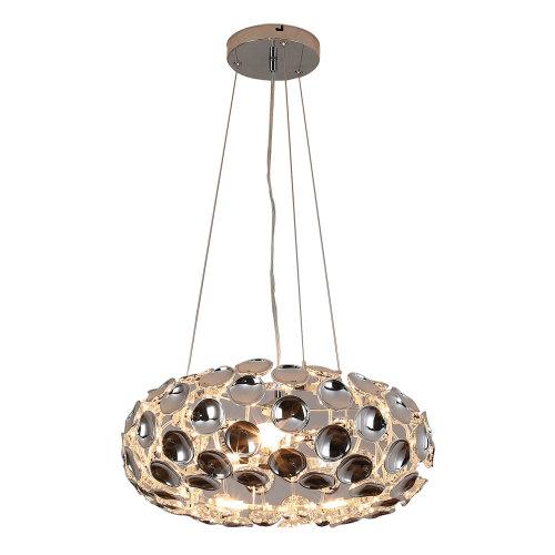 HOMCOM Modern Pendant Lamp Chrome Ceiling Light Acrylic Crystal Effect Shade Adjustable Height 3 x E14