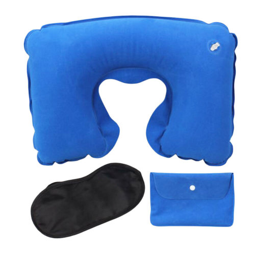 Flocking Office/Travel Pillow Inflatable Portable Neck Pillow Suit