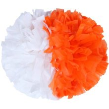 2 PCS Team Sports Cheerleading Poms Match Pom Plastic Ring White+Orange