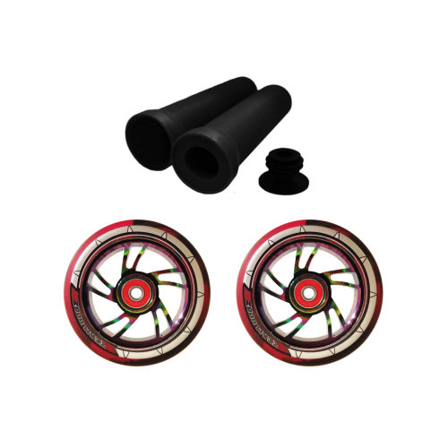 Combo Black Red Scooter Wheels Pair 100mm Rainbow Core+Handlebar Grips